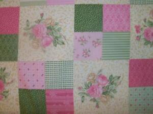 Ro-Gregg-Shabby-Pink-Green-Cream-Floral-Rose-Cheater-Patch-Quilt-Block-Fabric