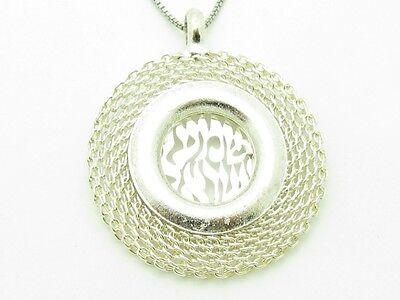 Platinum Sterling Silver Chain Shema Prayer Kabbalah Good Luck Evil Eye Pendant
