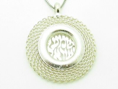 Platinum Sterling Silver Chain Shema Prayer Kabbalah Good Luck Evil Eye Pendant