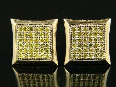 Mens/ladies 10 Mm Full Canary Yellow Finish Kite Diamond Stud Earrings on Sale