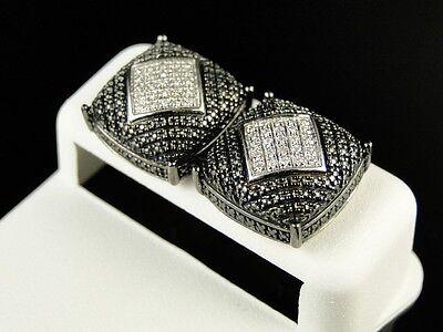 Mens White & Black Gold Finish Genuine White Diamond Dome Stud Earrings .40 Ct on sale