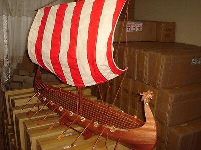 "Viking Dragon boat high quality hand made wooden model ship 40"""