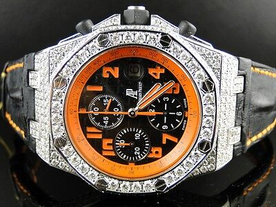 New Custom Mens Audemars Piguet Royal Oak Offshore Volcano Diamond Watch 12 Ct