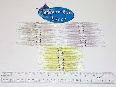 Soft Plastic Clear Minnow, (60) 6-10 Packs Lures, Clear/purple/chartruse Color