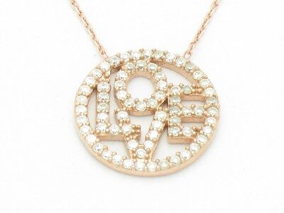 18kt Rose Gold Silver Diamond Set Pave White Sapphire Love Coin Promise Pendant