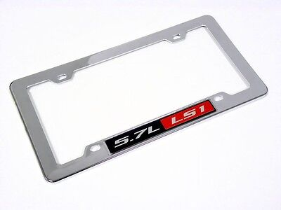 Chevy 5.7l Ls1 Engine License Plate Tag Frame Chrome