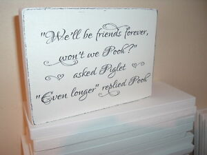 shabby, mod n chic plaque pooh and piglet block friends forever