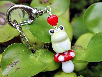 Cute Green Frog Keychain Or Purse Clip- Red Heart & Polka Dot Mushroom- Handmade