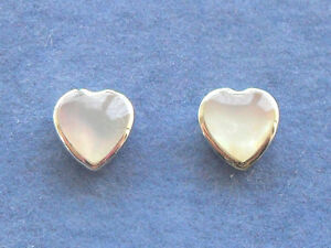 Pair Sterling Silver (925) Small White Heart Mother Of Pearl MOP Stud Earrings