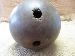 Vintage-1800s-Wooden-Bowling-Ball-2-Holes-Antique-Ball-Bowl-Old-Balls-6999