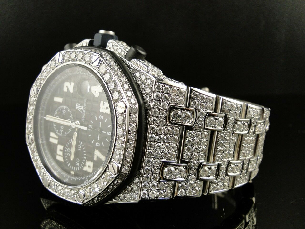 mens iced out audemars piguet royal oak offshore