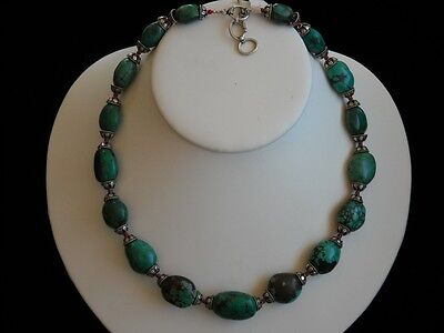 Vintage Turquoise, Red Coral & Sterling Silver Handmade Collectible Necklace 20