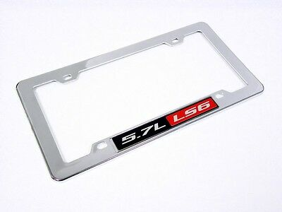 Chevy 5.7l Ls6 Engine License Plate Tag Frame Chrome