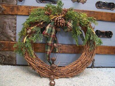 Rustic Vine Wreath Tartan Bow Cones Jingle Bells