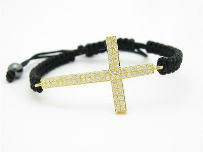 18kt Gold Sterling Silver Unique Cross Macrame White Sapphire Pave Bracelet Gift