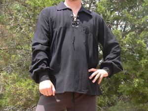 Large Cotton Renaissance Shirt Lace-Up Pirate Medieval Costume Zootzu Black
