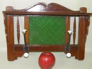 ANTIQUE-HAND-CARVED-WALNUT-ARTS-CRAFTS-HAT-COAT-RACK-GREEN-GLASS