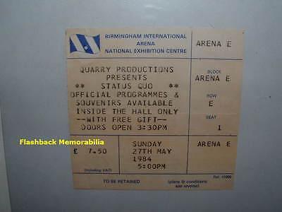 STATUS QUO Concert Ticket Stub 1984 NEC BIRMINGHAM INT'L ARENA U.K. Very Rare