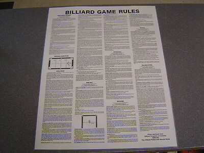 2 Billiards BCA Rules & Reg Non-Laminated Posters. 7 Pool Games.  GREAT BUY !
