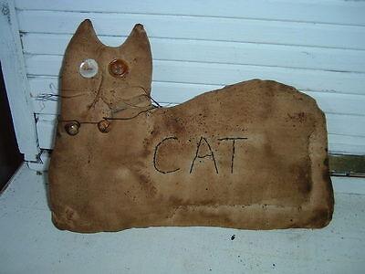 Primitive Cat shelf sitter doll - rusty bells-buttons