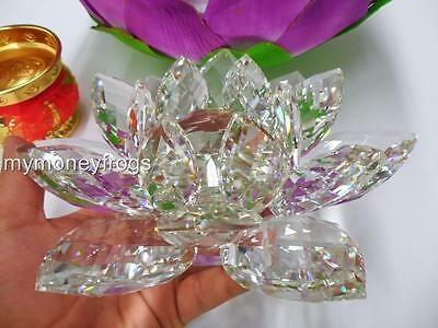 "6""D Crystal Clear Prism FENG SHUI Chinese Lotus Flower Healing Chi Energy DECOR"