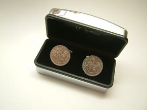 1963 SIXPENCE COIN CUFFLINKS (MENS 50th BIRTHDAY GIFT / PRESENT)