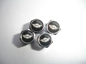 4 x Chrome MINI Tyre Valve Dust Caps One Cooper Works BLACK FREE P&P