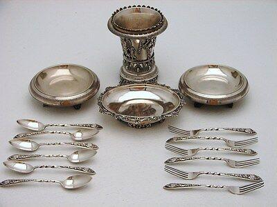 17 pc Turkish Ottoman Silver Desert Set Turkish Izmir Vase Dishes Forks Spoons