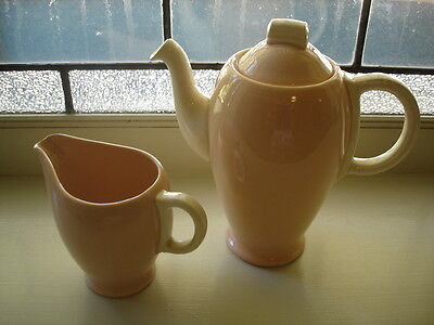 ANTIQUE VINTAGE PORCELAIN CHINA GRINDLEY ROSE LEAF PINK COFFEE POT AND JUG