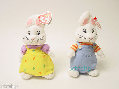 "Max And Ruby 7"" Plush Beanie Baby Set Toy Doll TY 3+, Boys & Girls"