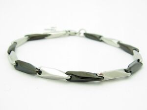 PLATINUM-BLACK-PVD-STAINLESS-STEEL-UNIQUE-HAND-MADE-LINK-BRACELET-BRIDAL-GIFT