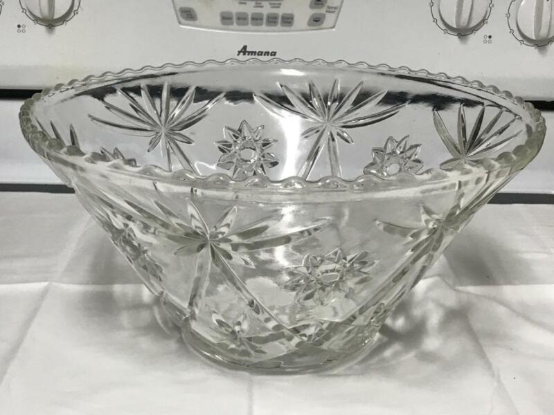 "VTG ANCHOR HOCKING PRESCUT CLEAR STAR OF DAVID 14"" PUNCH BOWL ONLY EUC"