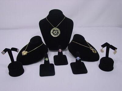 8pc Set Black Velvet Necklace Earring Ring Pendant Jewelry Display Stand Cm4b1