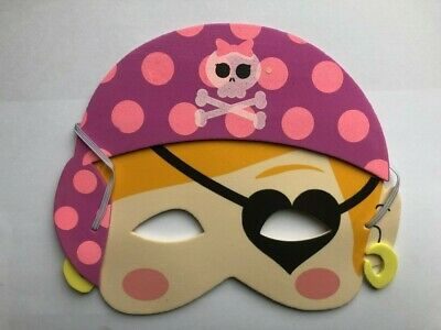 GIRL PIRATE FOAM EYE FACE MASK PINK PATCH CHILDRENS BIRTHDAY PARTY FANCY DRESS ()