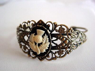Scottish Outlander Thistle Cameo Filigree Antique Bronze Cuff Bracelet