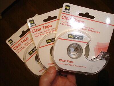 3 Lot Dg High Gloss Finish Transparent Clear Scotch Tape 34 X 1000 Dispenser