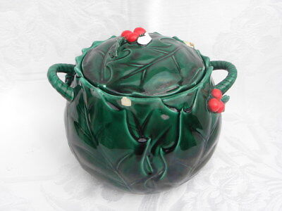 Vintage Lefton Christmas Green Holly and Berry Covered Cookie Jar #1359