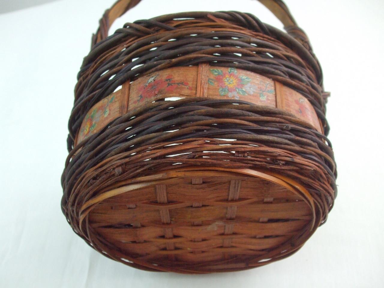 Dark Wicker Baskets With Handles : Vintage wicker woven basket w handle dark brown round quot tall