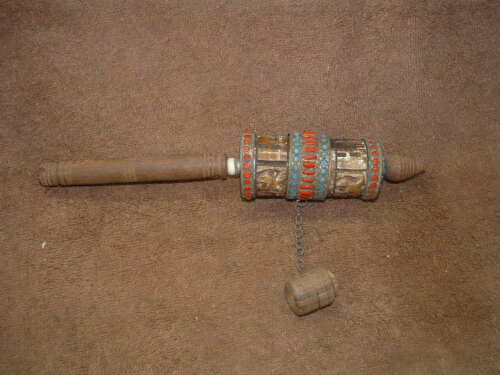 TIBETAN BUDDIST HAND HELD SPINNING MARBLE STONE & METAL BEADED PRAYER WHEEL