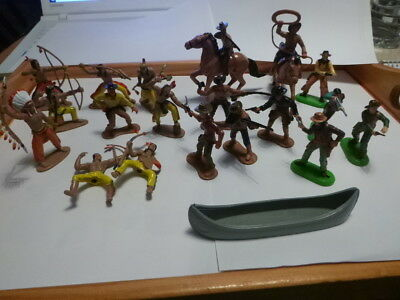 vintage cowboys and Indians horses toys 4 Britains 1971 hand painted 22 pieces