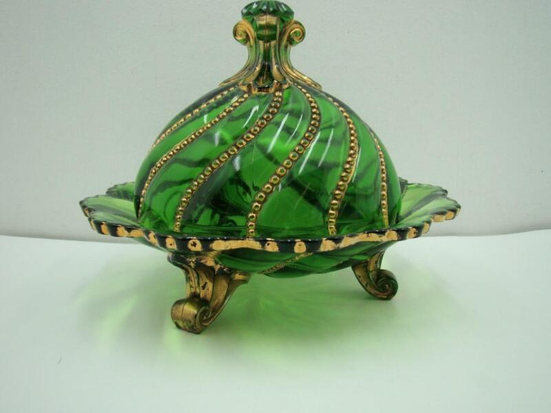 ANTIQUE Footed BUTTER CHEESE DISH Green with Gold Accents BEAUTIFUL