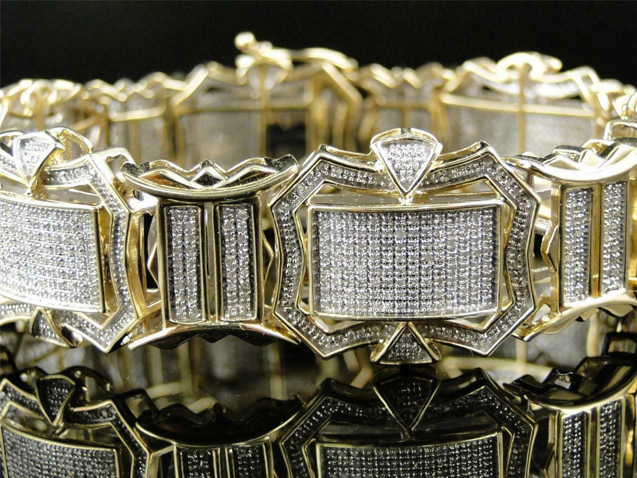 12CT Diamond 14K Men's Yellow Gold Over Engagement Exclusive Tennis Bracelet 3