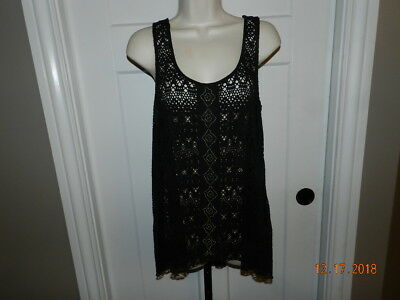 Maurices Tank Top Shirt Black faux crochet  M Med beaded