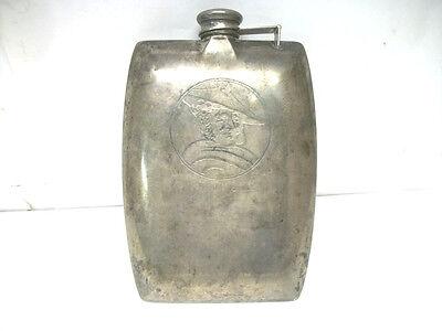 Antique International Sterling Silver CW 1/2 Pint Hip Flask w / Scotch Smile