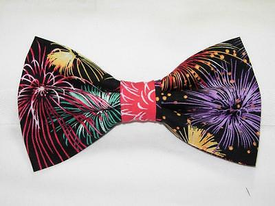 Fireworks Bow tie / Colorful Fireworks on Black / Patriotic / Pre-tied Bow tie (Patriotic Bow Ties)