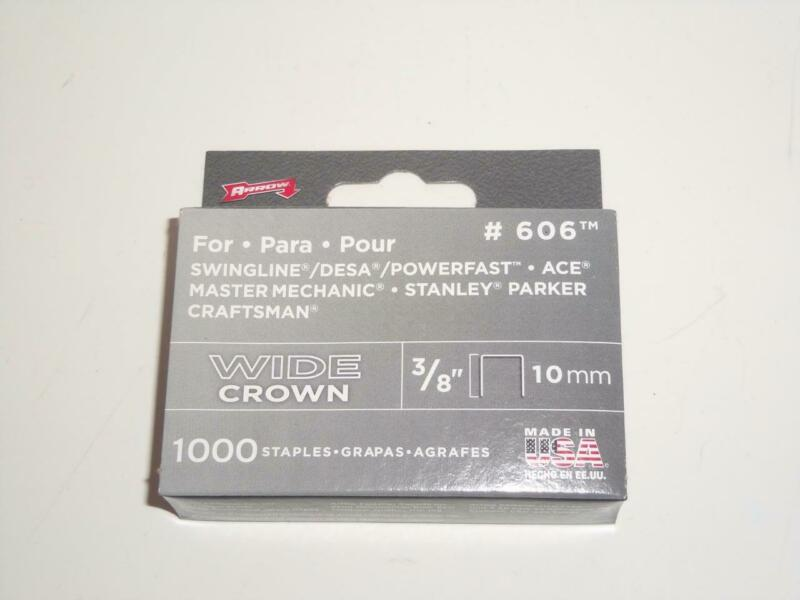 "1000 Arrow Fastener #606 Wide Crown Staples 3/8"" 10mm Heavy Duty Swingline Ace"