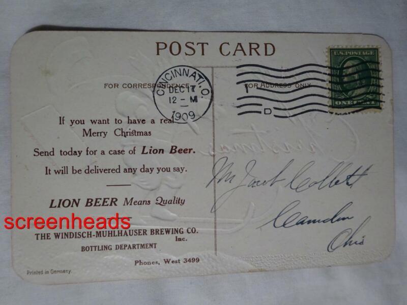 1909 Pre-Pro LION BEER ADV. POSTCARD Windisch-Muhlhauser Brewery CINCINNATI OHIO
