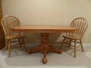 Solid Oak Table plus Four Chairs with Cushions
