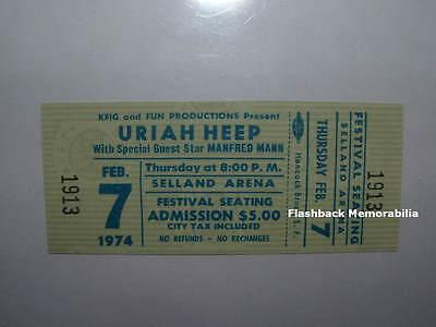 URIAH HEEP / MANFRED MANN Unused MINT 1974 Concert Ticket FRESNO SELLAND Rare