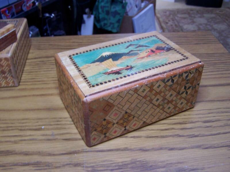 Antique Japan Yosegi Handcrafted Inlaid Wood PUZZLE BOX w Mt Fuji  dog 10 photos